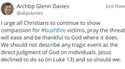 Read Archbishop Davies latest tweet on Bushfires