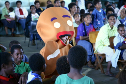 Chris Zabaks as Breadabbas helps teach youth in PNG about Easter