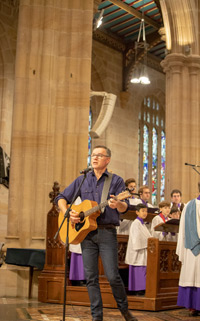Colin Buchanan sings 'Strong and Courageous', backed by the Cathedral choir and Rob Smith.
