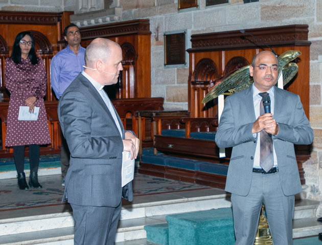 Mr Ould speaks with the Indian Consul-General