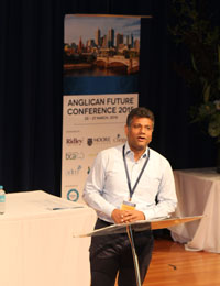 Kanishka Raffel leading Bible studies at the Anglican Future Conference in Melbourne last March