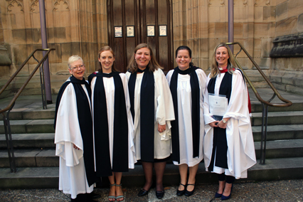 Archdeacon Kara Hartley (centre) with the women ordained at the service