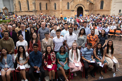 The crowd outside Parramatta Cathedral with those baptised and confirmed (photo:Simon Hall)