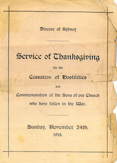 The service sheet for the Armistice Thanksgiving Service in Sydney in November, 1918