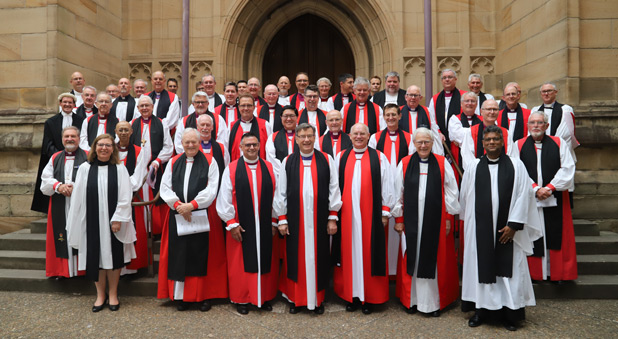 The large group of Bishops and other clergy at the service.