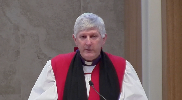 The Anglican Bishop to the Defence Force, Grant Dibden, speaks at the Anglicare service.