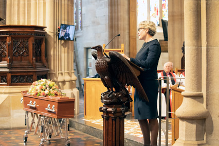 Anne Robinson (Mrs Anne Judd) delivers the eulogy