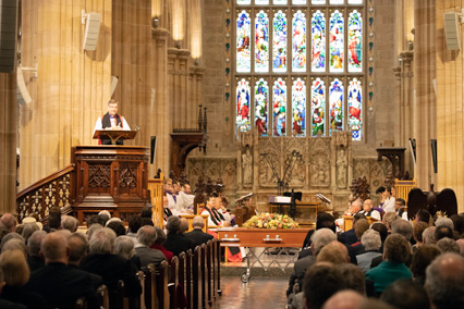 Archbishop Davies preaching at the funeral service