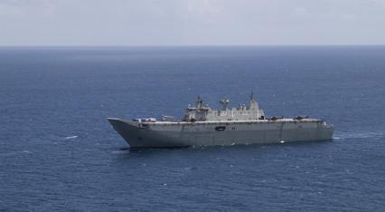 HMAS Canberra off Suva as part of Operation Fiji Assist