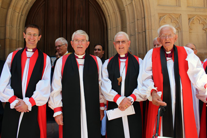 Bishops Stead, Forsyth, Watson and Reid at the door of the Cathedral.