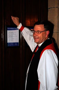 The Archbishop-elect knocks at the door of the Cathedral