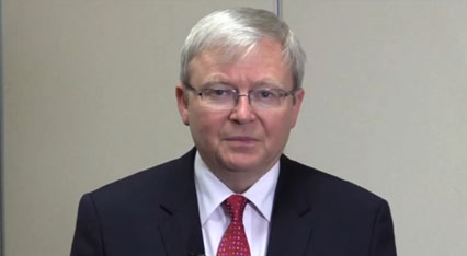 Kevin Rudd in the pre-recorded video