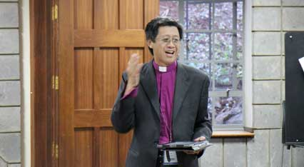 Bishop Lee briefs GAFCON delegates on the news from home.