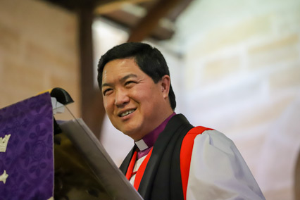 Bishop Lin preaches at the service