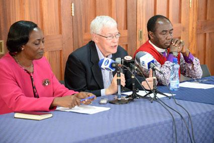 Dr Ruth Senyonyi, Dr Peter Jensen and Archbishop Ben Kwashi speak to the media