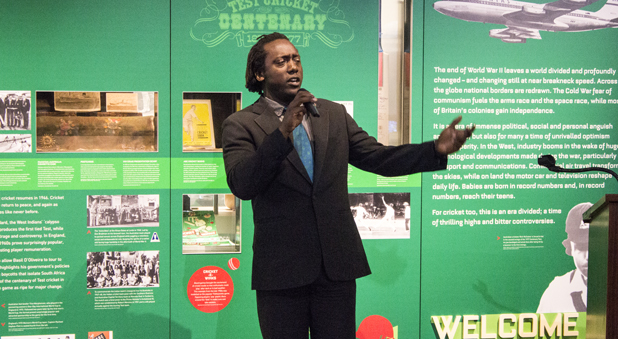 Henry Olonga sings for the crowd at the Bradman Museum