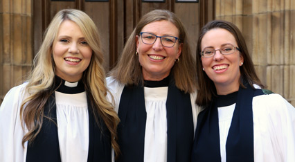 The Rev Polly Butterworth (left), Archdeacon Kara Hartley (centre) and the Rev Emma Newling