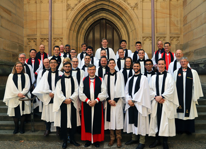 The new deacons with Archbishop Davies and the Bishops