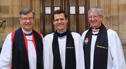 The Rev Stephen Gibbins (centre) with Archbishop Davies (left) and Archdeacon Russell