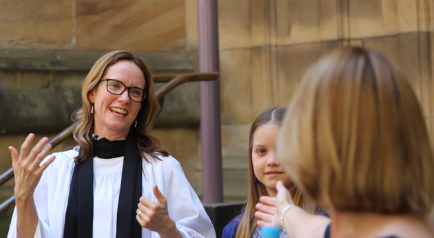 Support from friends and family, the Rev Jo Gibbs after the service