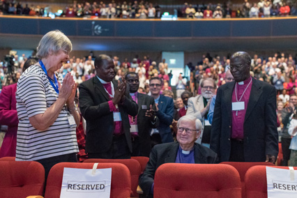 Peter and Christine Jensen amid the standing ovation (Photo: Jessie Parks)