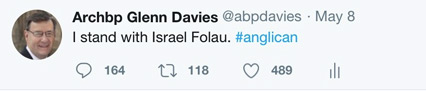 Archbishop Davies' twitter posting.